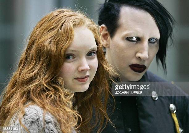 US rock singer Marilyn Manson and British top model Lily Cole pose during a press conference about the planned movie Phantasmagoria The Visions of...