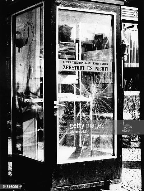 Germany Vandalism destroyed telephone booth 1960ies