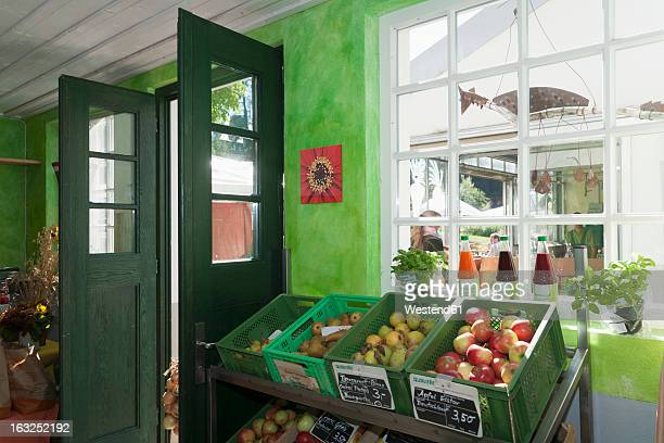 Germany, Various fruits and vegetable juices in shop