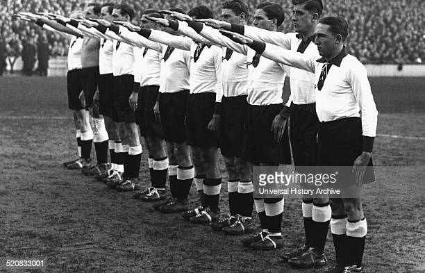 1936 Germany Versus England German team give the Nazi salute at the Berlin Olympic games