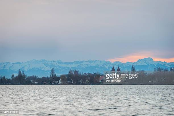 Germany, View from Mettnau to Reichenau Island in the evening