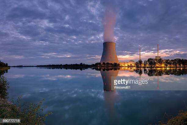 germany, view of coal power plant at twilight - coal fired power station stock photos and pictures