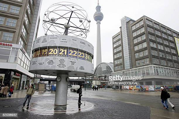 View of east Berlin's once famous World Time Clock in the city's Alexanderplatz 18 January 2005 The clock built in 1969 in then Communist east...
