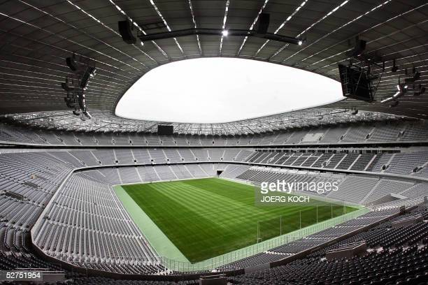 View of the Allianz Arena Football stadium in Munich 03 May 2005 The Arena with a capacity of 66000 spectators will open officially on 31 May 2005 It...