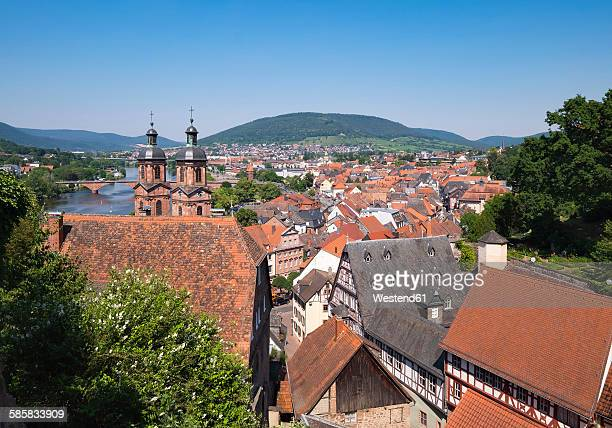 Germany, view to Miltenberg with spires of St. Jacobus Church