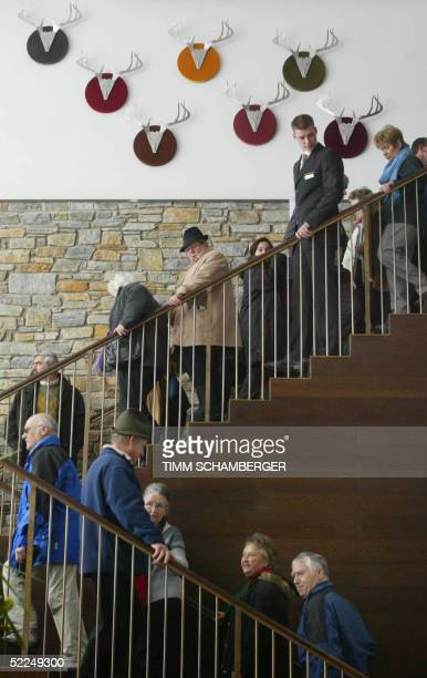 Visitors inspect the new built luxury hotel at the Obersalzberg mountain near Berchtesgaden southern Germany during an open day 27 February 2005 The...