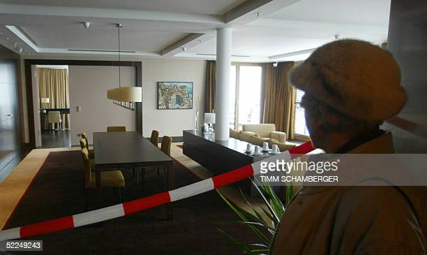 Visitors inspect the socalled President Suite of the new built luxury hotel at the Obersalzberg mountain near Berchtesgaden southern Germany during...