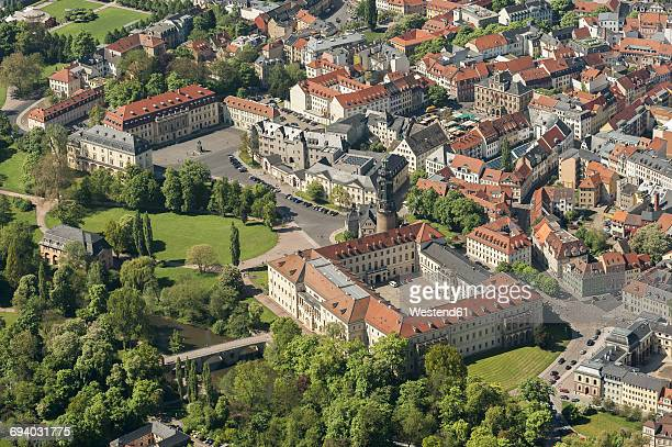 Germany, Weimar, aerial view of the old town with castle