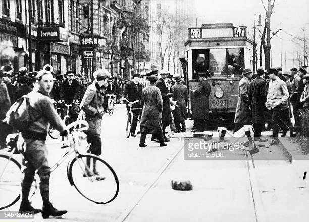 Germany Weimar Republic Berlin Riots after the breakup ot a communist demonstration which took part in spite of the ban on any demonstration May 1929