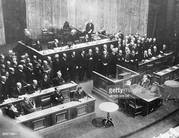 Germany Weimar Republic The President of the National Assembly David announces the election of Friedrich Ebert as German President