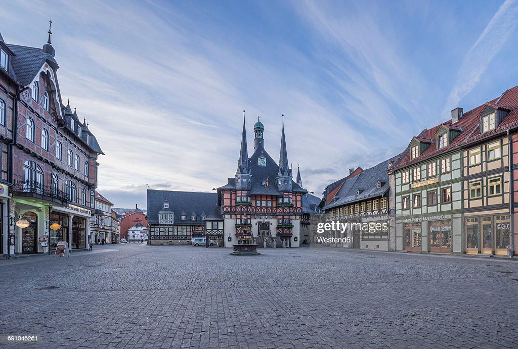 Germany, Wernigerode, view to town hall and market square : Stock Photo