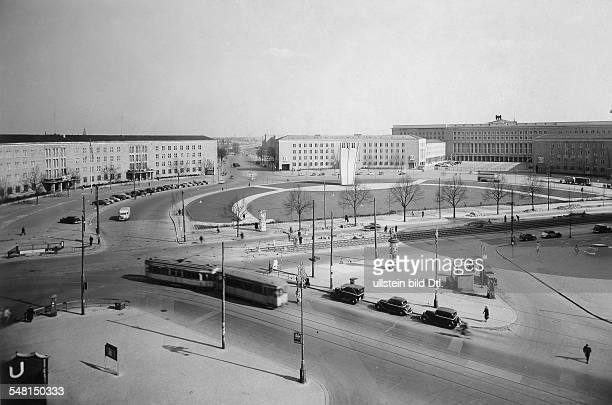 Germany, West-Berlin, Tempelhof district The 'Luftbruecke square' with the newly erected monument to the Berlin Airlift near the airport. End of 1951
