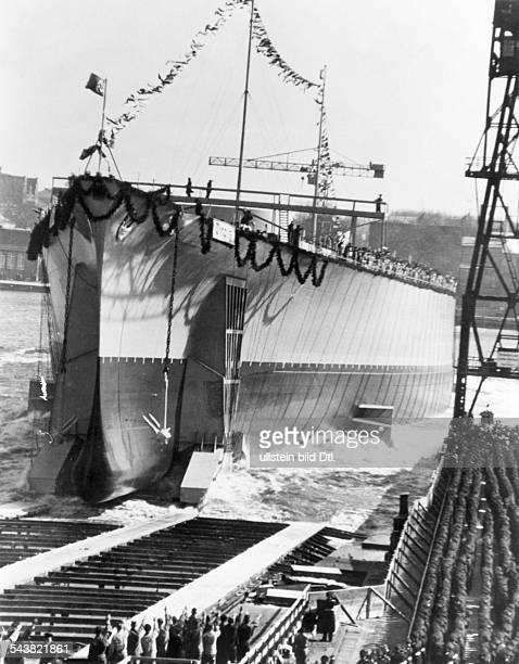 Germany Wilhelmshaven Launch of German battleship TIRPITZ April 1 1939