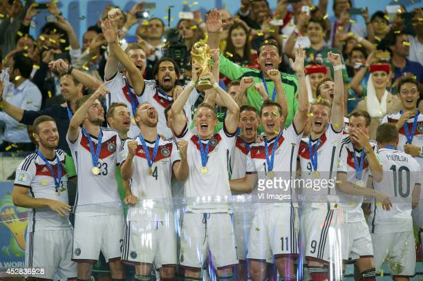 Germany with world cup trophee Bastian Schweinsteiger of Germany during the final of the FIFA World Cup 2014 on July 13 2014 at the Maracana stadium...