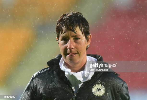 Germany Women's U19 head coach Maren Meinert during the UEFA Women's Under19 European Championship match between Belgium Women's U19 and Germany...