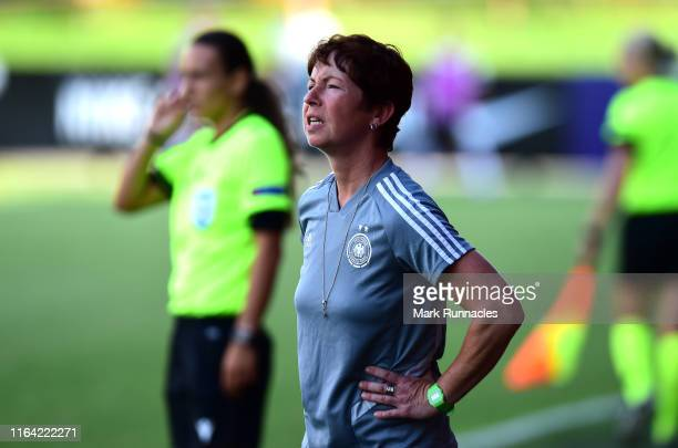Germany Women's U19 head coach Maren Meinert during the UEFA Women's U19 European Championship Semi Final match between Netherlands Women's U19 v...