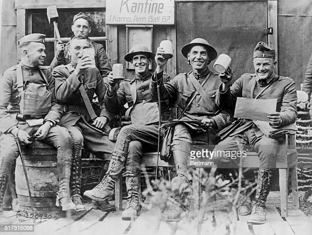 Germany: World War I Armistice: Officers celebrate at captured German canteen.
