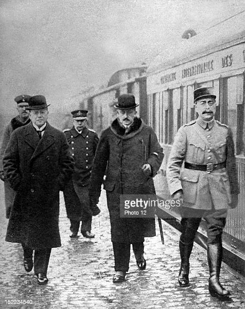 Germany World War I Second conference for the prolongation of the armistice Arrival of the German representatives before Marshal Foch's parlor car at...