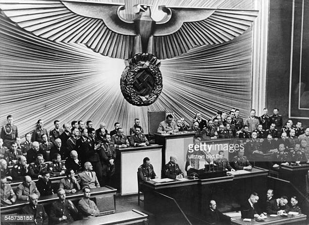 Germany WW II End of the Balkans campaign Speech of Adolf Hitler at the Kroll Oper in Berlin Otto Dietrich Albert Bormann Hans Heinrich Lammers...