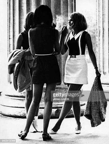 Germany young women in the streets with mini skirt Photographer Gert Kreutschmann 1968Vintage property of ullstein bild