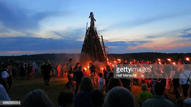germany-bavaria. customs and tradition. johanis fire at saint john's eve - burns night stock pictures, royalty-free photos & images