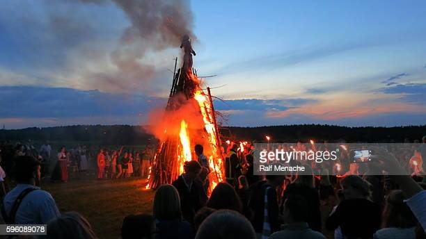 germany-bavaria. customs and tradition. johanis fire at saint john's eve - john the baptist stock photos and pictures