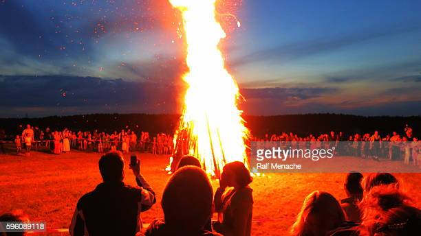 germany-bavaria. customs and tradition. johanis fire at saint john's eve - traditional ceremony stock pictures, royalty-free photos & images