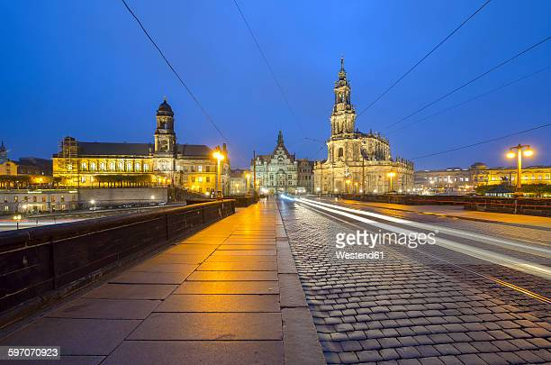 Germany,Dresden, Augustus Bridge, Old town in the evening