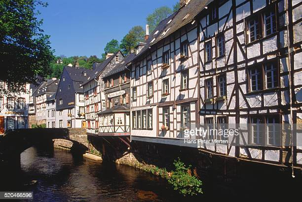 germany/monschau (eifel): houses near river rur - north rhine westphalia stock pictures, royalty-free photos & images