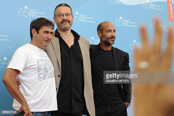 Germany's actor JeanMarc Barr France's director Arnaud des Pallieres and Spain's Sergi Lpez pose during the photocall of the movie Parc at the 65th...