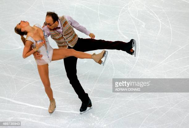 Germany's Alexander Gazsi and Germany's Nelli Zhiganshina perform in the Figure Skating Ice Dance Short Dance at the Iceberg Skating Palace during...