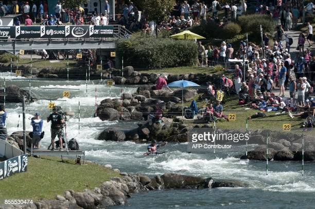 Germany's Alexander Grimm competes in the Kayak Single Men's Semifinal during the World CanoeKayaking Championships in Pau southern France on...