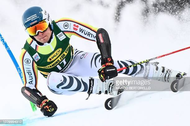 Germany's Alexander Schmid competes during the first run of the 3rd Men's Giant Slalom event of the FIS Alpine Ski World Cup, in Santa Caterina di...