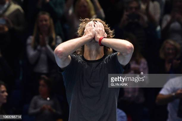 TOPSHOT Germany's Alexander Zverev celebrates after beating Serbia's Novak Djokovic in their men's singles final match on day eight of the ATP World...