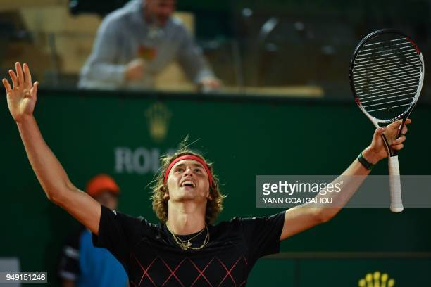 Germany's Alexander Zverev celebrates after winning against France's Richard Gasquet at the end of their men's single tennis match at the MonteCarlo...