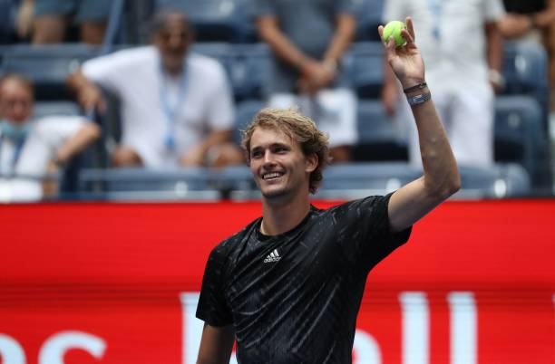 Germany's Alexander Zverev celebrates his victory over US player Sam Querrey during their 2021 US Open Tennis tournament men's singles first round...