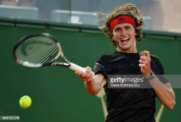 Germany's Alexander Zverev hits a return to France's Richard Gasquet at the end of their men's single tennis match at the MonteCarlo ATP Masters...