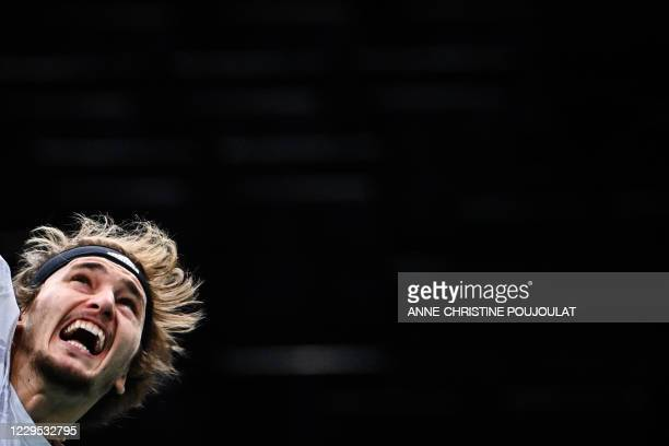 Germany's Alexander Zverev reacts as he serves the ball to Russia's Daniil Medvedev during their men's singles final tennis match on day 7 at the ATP...