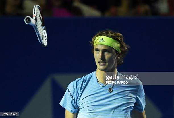 TOPSHOT Germany's Alexander Zverev reacts during his Mexico ATP 500 Open men's single tennis match against his compatriot Peter Gojowczyk in Acapulco...