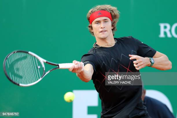 Germany's Alexander Zverev returns a ball to Luxembourg's Gilles Muller during their round of 32 tennis match at the MonteCarlo ATP Masters Series...