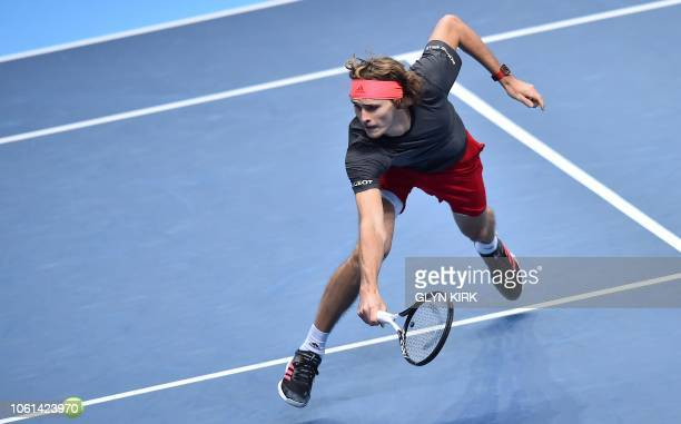 Germany's Alexander Zverev returns against Serbia's Novak Djokovic during their mens singles roundrobin match on day four of the ATP World Tour...