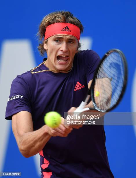 Germany's Alexander Zverev returns the ball to Argentinia's Juan Ignacio Londero during their second round match at the ATP tennis BMW Open in Munich...