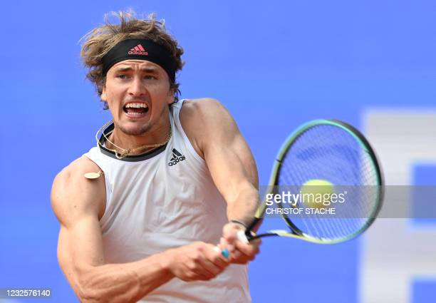 Germany's Alexander Zverev returns the ball to Lithuania's Ricardas Berankis in their match of the ATP Tennis BMW Open in Munich, southern Germany,...