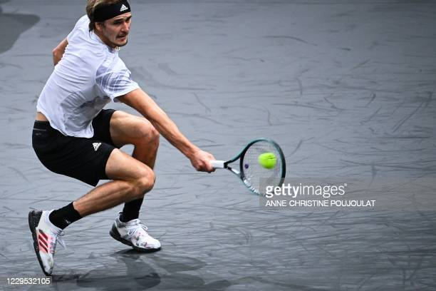Germany's Alexander Zverev returns the ball to Russia's Daniil Medvedev during their men's singles final tennis match on day 7 at the ATP World Tour...