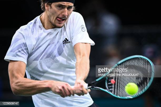 Germany's Alexander Zverev returns the ball to Spain's Rafael Nadal during their men's singles semi-final tennis match on day 6 at the ATP World Tour...