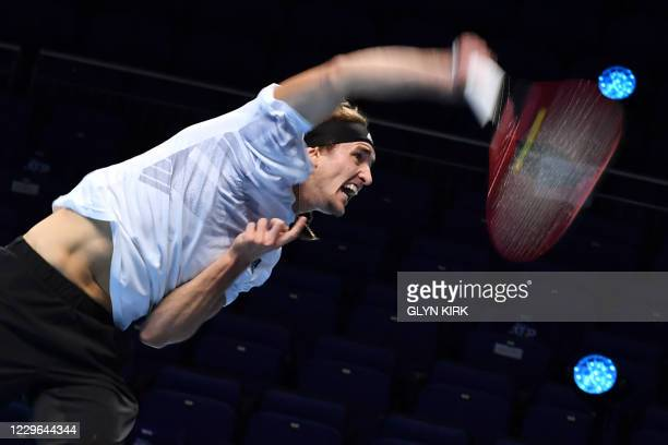 Germany's Alexander Zverev serves against Russia's Daniil Medvedev in their men's singles round-robin match on day two of the ATP World Tour Finals...