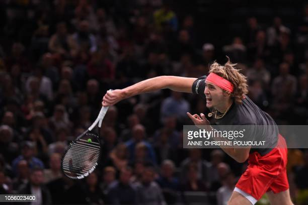 Germany's Alexander Zverev serves the ball to Argentina's Diego Schwartzman during their men's singles third round tennis match on day four of the...
