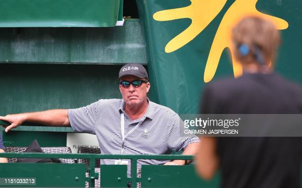 Germany's Alexander Zverev's coach and former player Ivan Lendel attends his match against US Steve Johnson during their tennis match at the ATP Open...