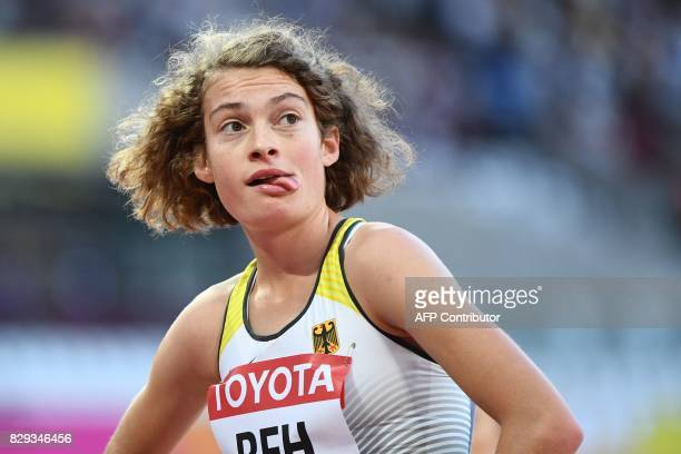 Germany's Alina Reh reacts after competing in the women's 5000m athletics event at the 2017 IAAF World Championships at the London Stadium in London...