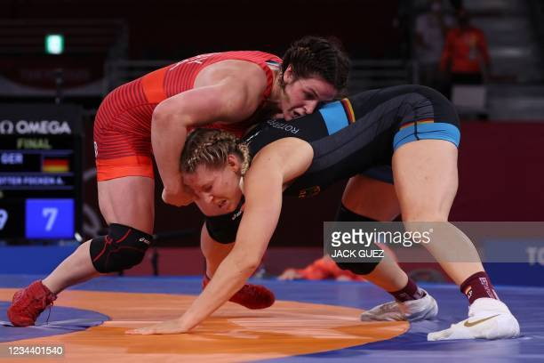 Germany's Aline Rotter Focken wrestles USA's Adeline Maria Gray in their women's freestyle 76kg wrestling final match during the Tokyo 2020 Olympic...